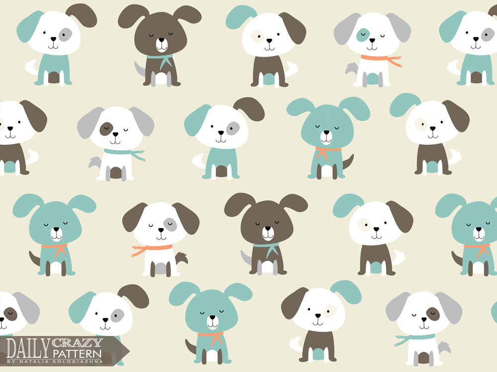 "Cute puppies for ""Daily Crazy Pattern"" project"