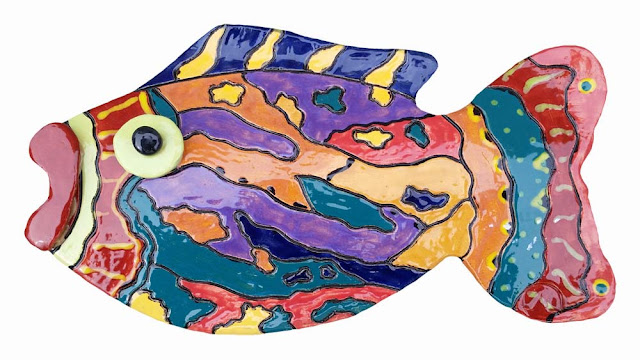 colorful ceramic fish decor