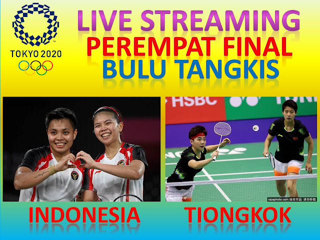 Link Live Streaming Olimpiade Perempat Final Bulutangkis Ganda Putri : G. Polii/A. Rahayu (Indonesia) Vs Y.H. Li/ Y. Du (Tiongkok) Jam. 15.00 WIB