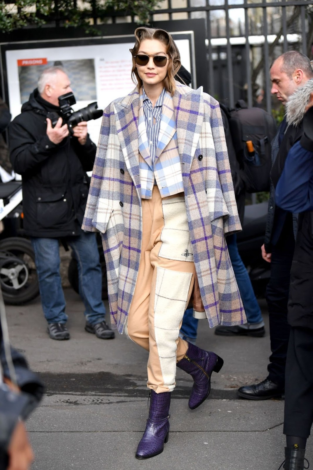 Gigi Hadid was every inch the style chameleon as she left Chanel's Autumn/ Winter 2020- 2021 showcase in a Vivienne Westwood ensemble