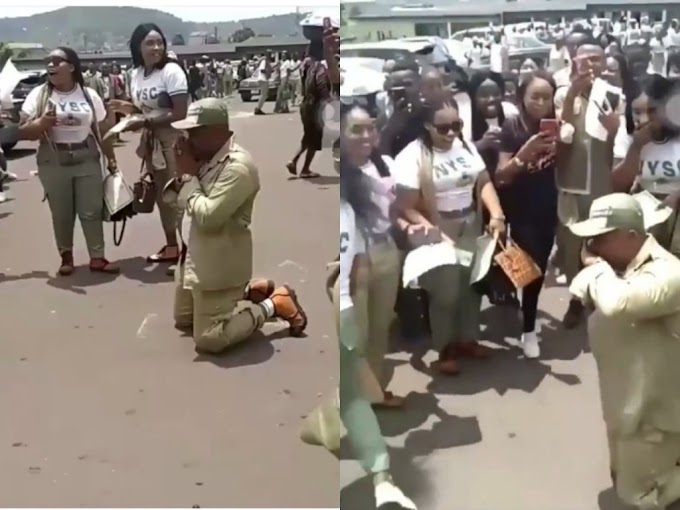 Aww! Corper Proposes To His Fellow Corps Member At Their Passing Out Ceremony