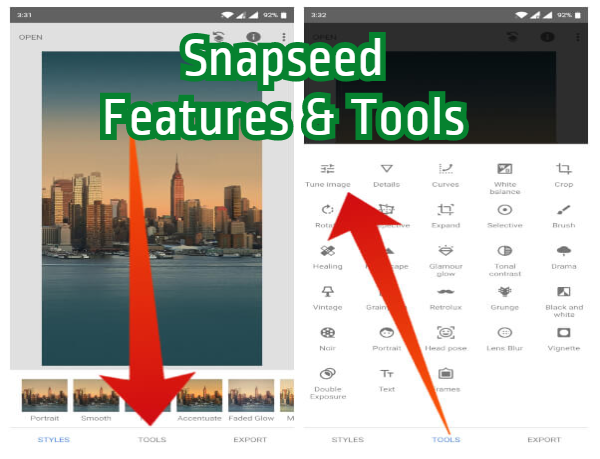 snapseed pc features