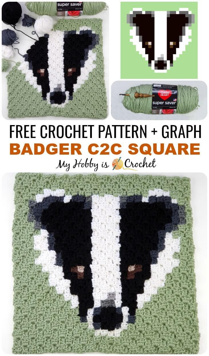Badger C2C Square - Free Pattern
