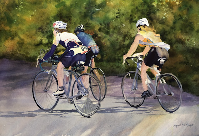 Watercolor paitning of three cyclists in a bike race.