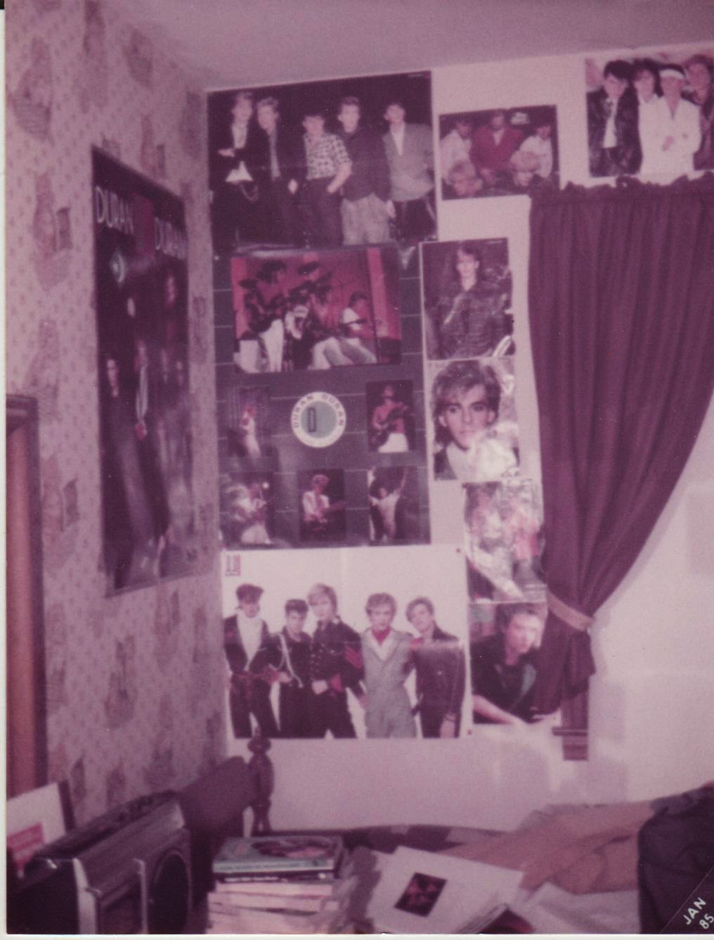 Duran Duran posters on a 1980s bedroom wall