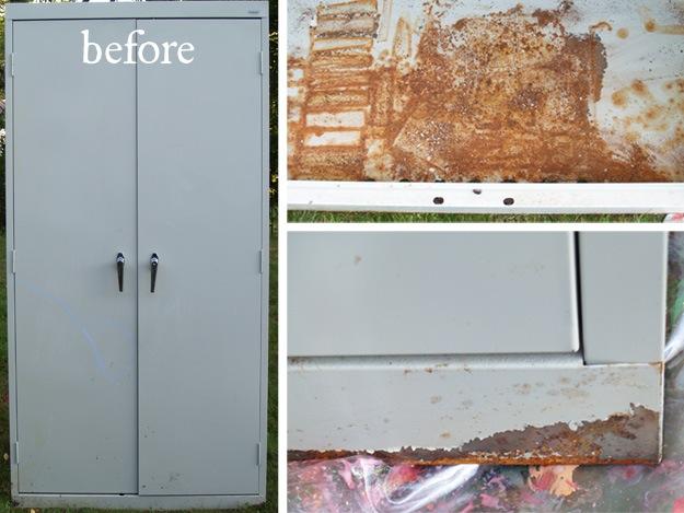 Vintage Locker Inspired Lavender Cabinet Tutorial