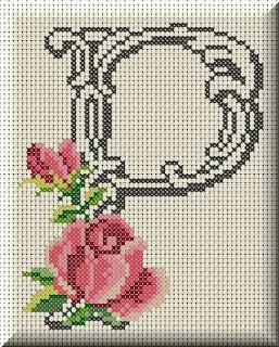 Alfabeto Monograma Com Rosas e Arabescos Em Ponto Cruz 39