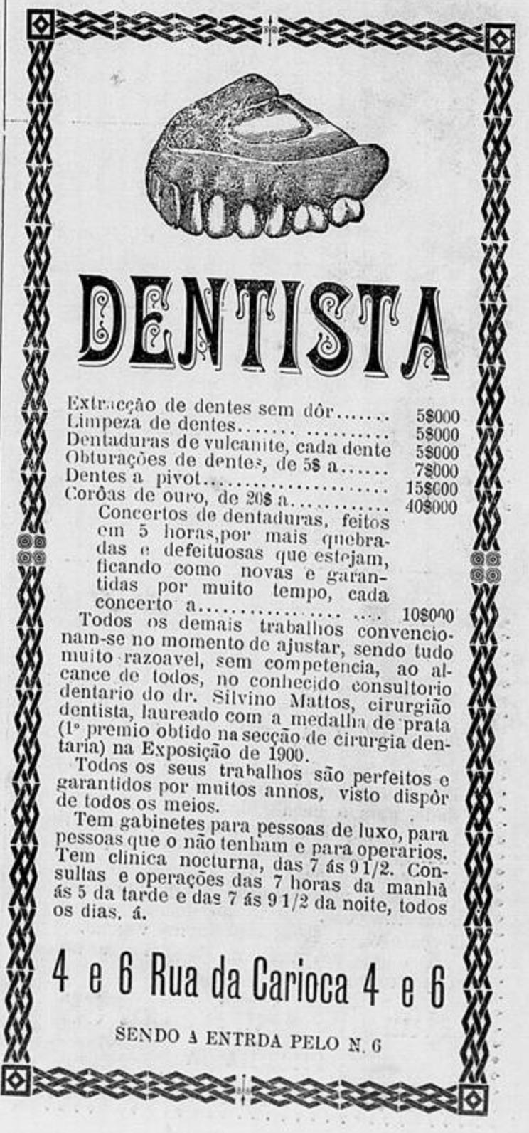 Anúncio de dentista veiculado em jornal no ano de 1902