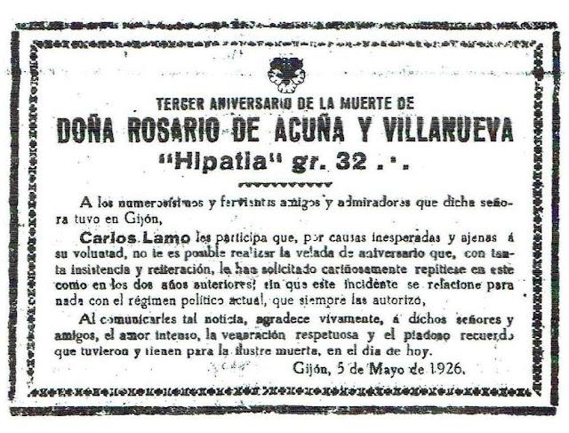 Esquela del tercer aniversario de la muerte de Rosario de Acuña (El Noroeste, 5-5-1926)