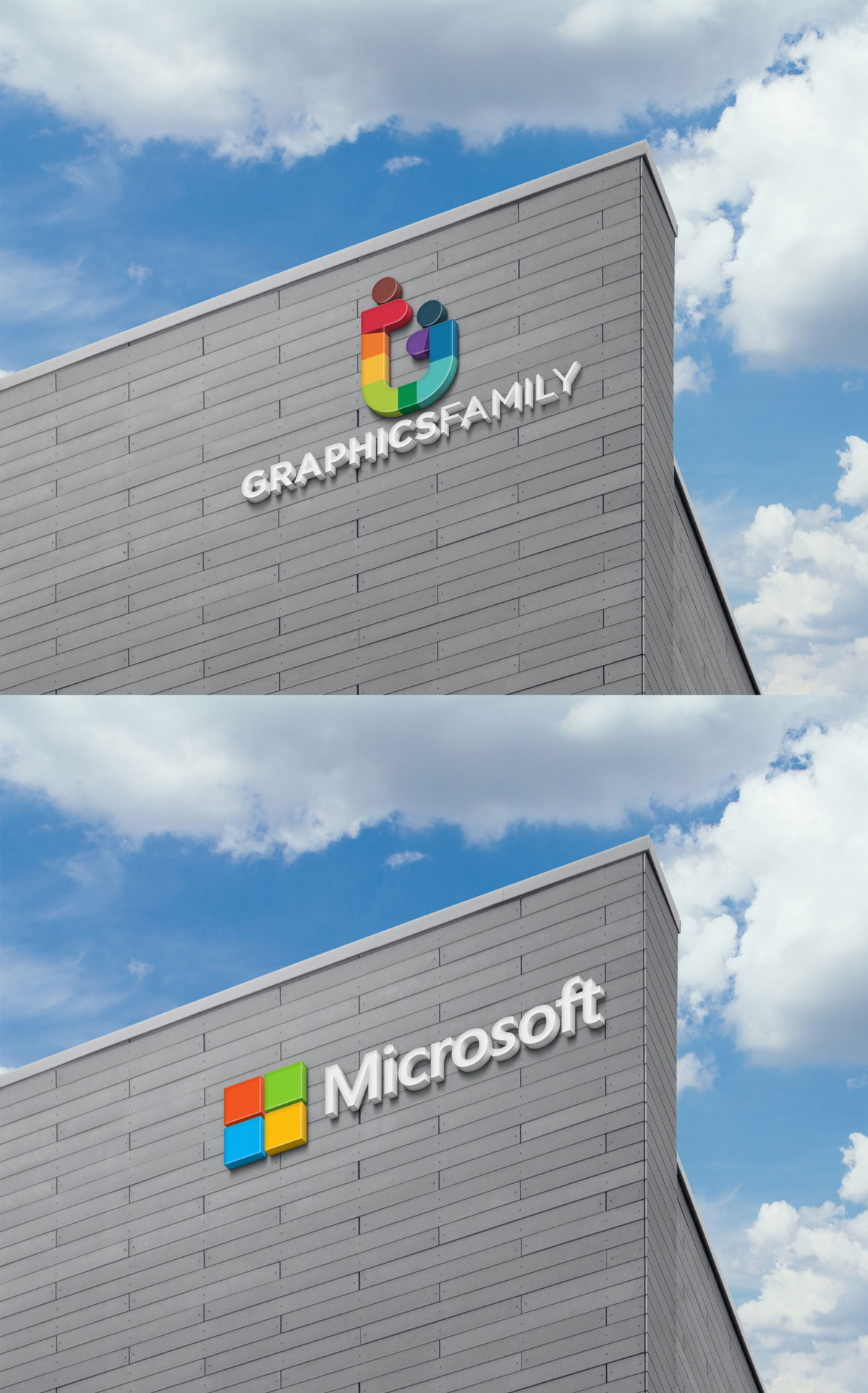 3D Sign On Building Facade Wall Logo Mock Up Free