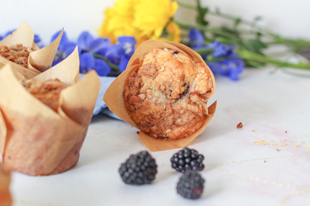 Refined Sugar Free Blackberry Muffins