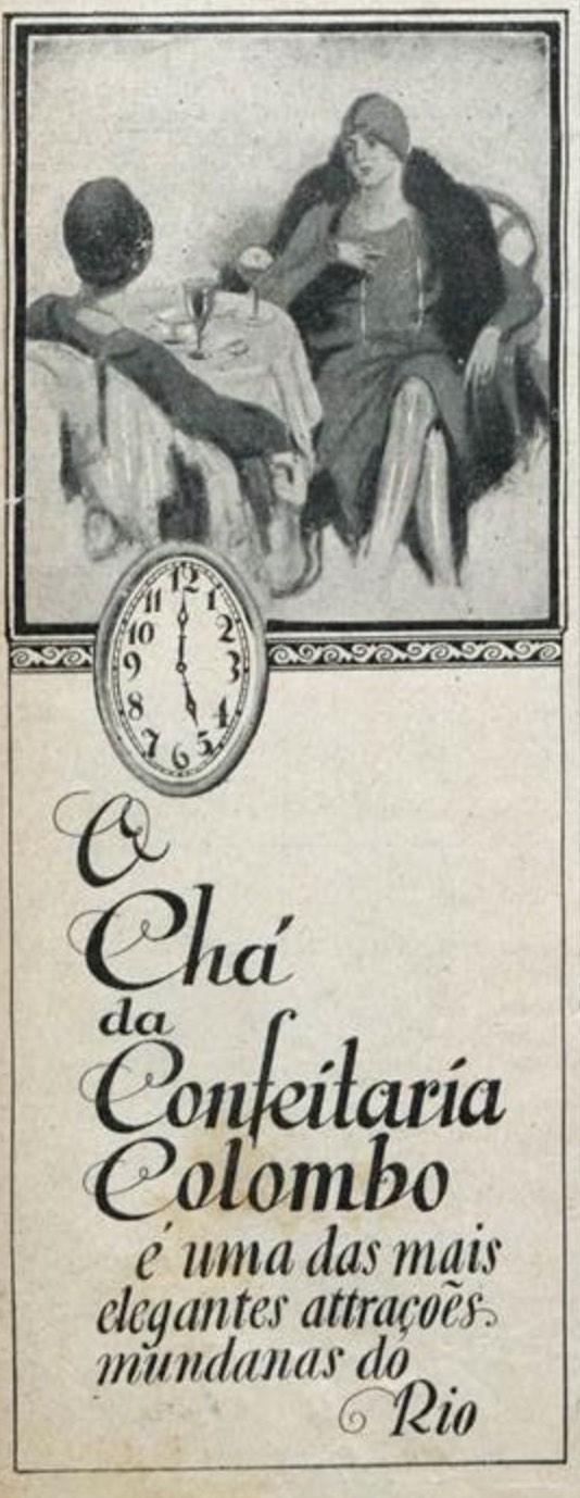 Propaganda antiga da Confeitaria Colombo veiculada em 1928