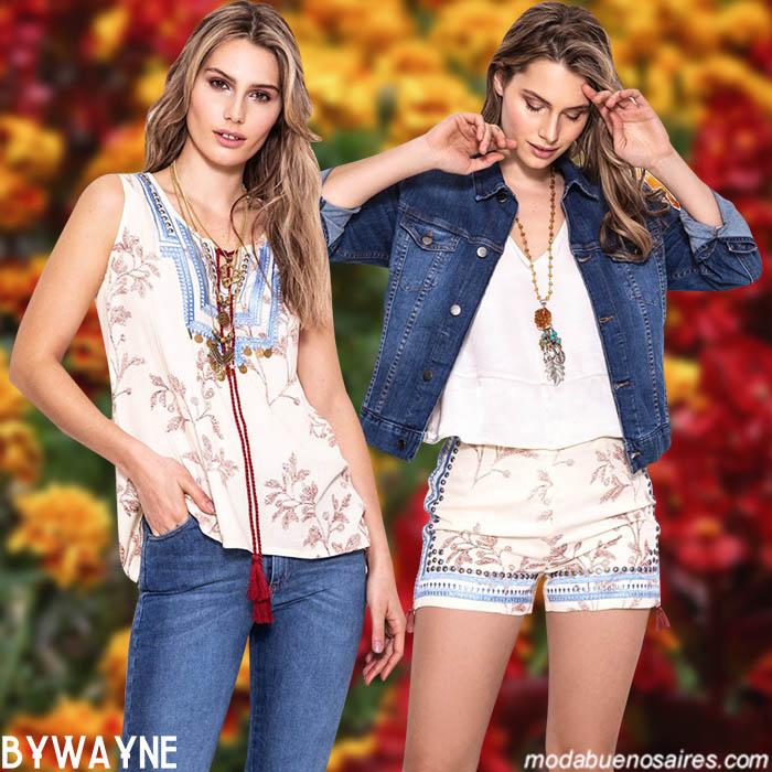 Moda primavera verano 2020 blusas, jeans, tops, shorts y camperitas de jeans elastizadas primavera verano 2020.