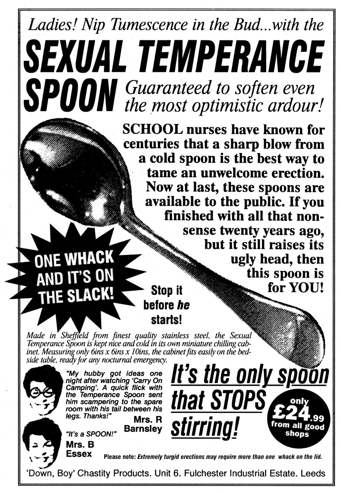 Sexual Temperance Spoon: The Only Spoon That STOPS Stirring!