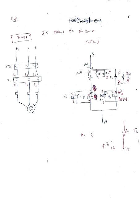 4- دائرة تشغيل محرك 3 فاز يعمل 5 ثواني ويفصل ثانيتين مع التكرار