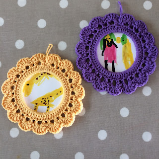 Yellow giraffe crochet frame, purple Sarah and Duck crochet frame