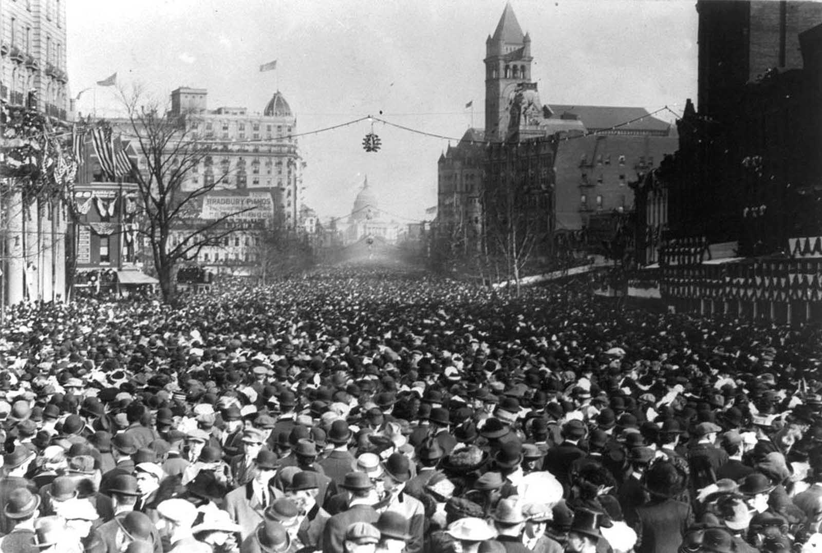 Pennsylvania Avenue, completely choked with spectators during the Suffrage Parade, on March 3, 1913.
