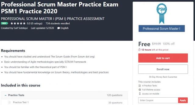 [100% Off] Professional Scrum Master Practice Exam PSM1 Practice 2020| Worth 19,99$
