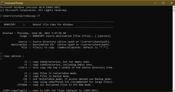 طرق سهلة لنسخ عدد كبير من الملفات بسرعة في Windows Robocopy