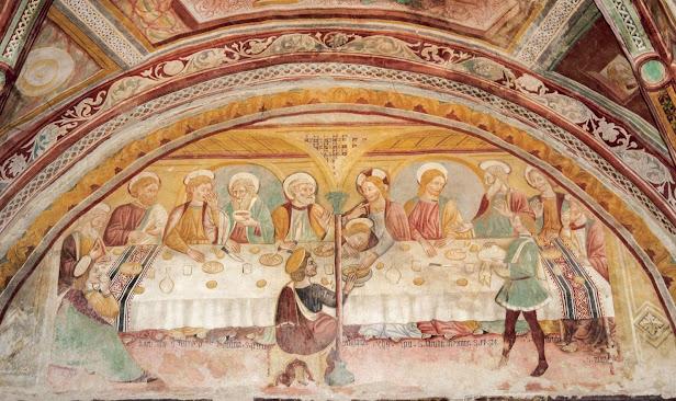 Ultima cena di Giovanni Sparapane, chiesa di San Salvatore,  Campi, frazione di Norcia. Si trattava di due delle opere più rappresentative del Quattrocento nursino; purtroppo sono andate distrutte dai terremoti del 26 e 30 ottobre 2016.