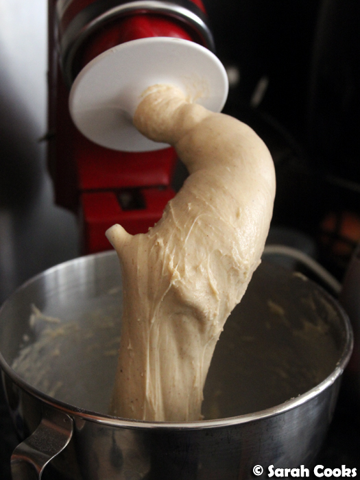 Bread dough on hook