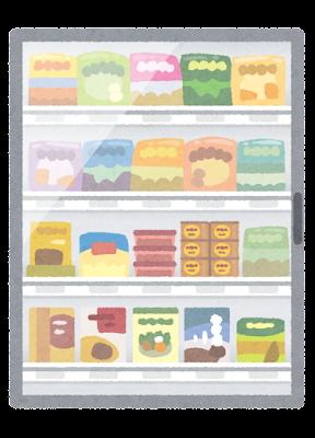 冷凍ショーケースのイラスト(閉じた状態)