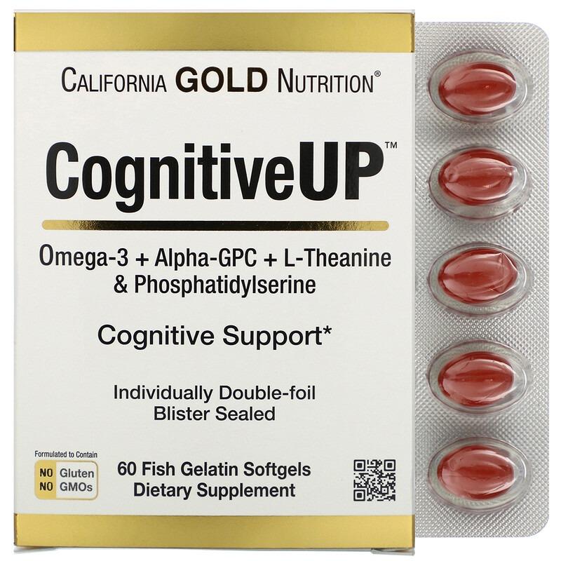 California Gold Nutrition, CognitiveUP, омега-3 жирные кислоты, альфа-ГФК, теанин и фосфатидилсерин, 60 мягких капсул из рыбьего желатина