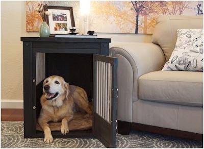 Chuồng chó bằng gỗ, hoặc mây tre có thể trang trí trong nhà