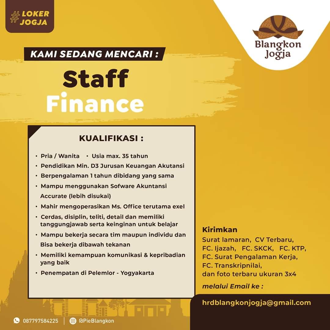 Lowongan Jogja di Pie Blangkon Sebagai Staff Finance