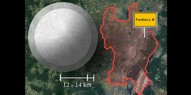 Range of the size for a typical neutron star compared to the city of Frankfurt (satellite image: GeoBasis-DE/BKG (2009) Google)