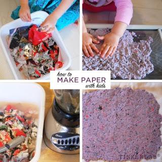 Experimentos sobre los libros: Hacer papel reciclado con niños y niñas en Tinkerlab
