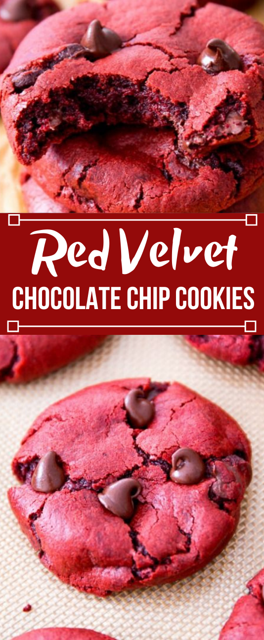 Red Velvet Chocolate Chip Cookies #cookies #chocolate #desserts #pumpkin #velvet