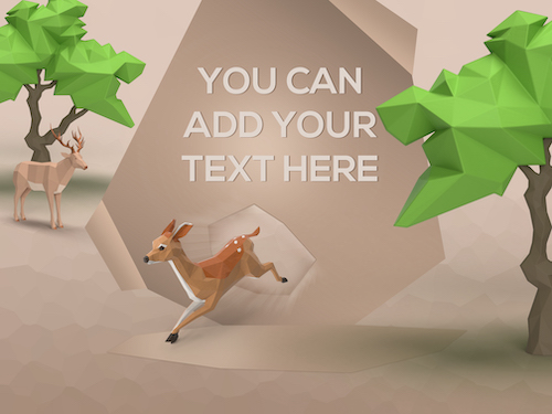 3D Origami fawn deer trees with banner background