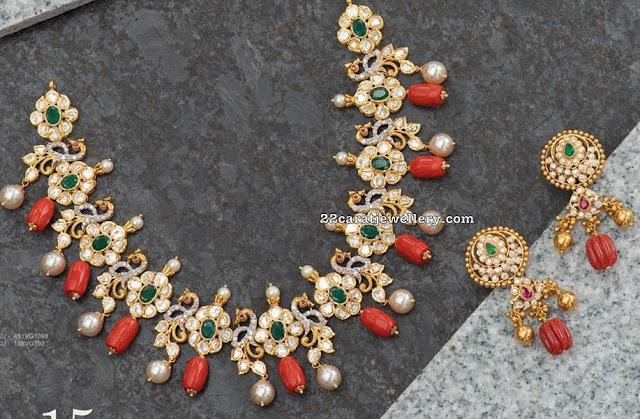Floral Design Coral Drops Necklace
