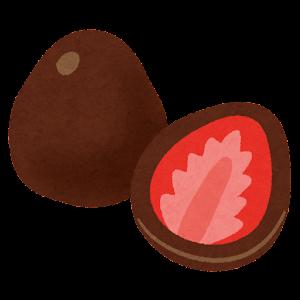 イチゴのチョコレートがけのイラスト