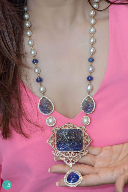 Blue Sapphire Beads South Pearls Pendant Set