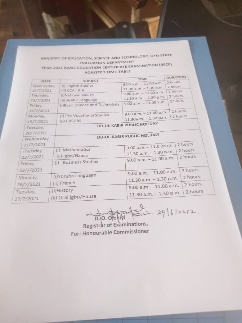 Oyo State BECE Timetable [14th - 27th July 2021]   JUNIOR WAEC