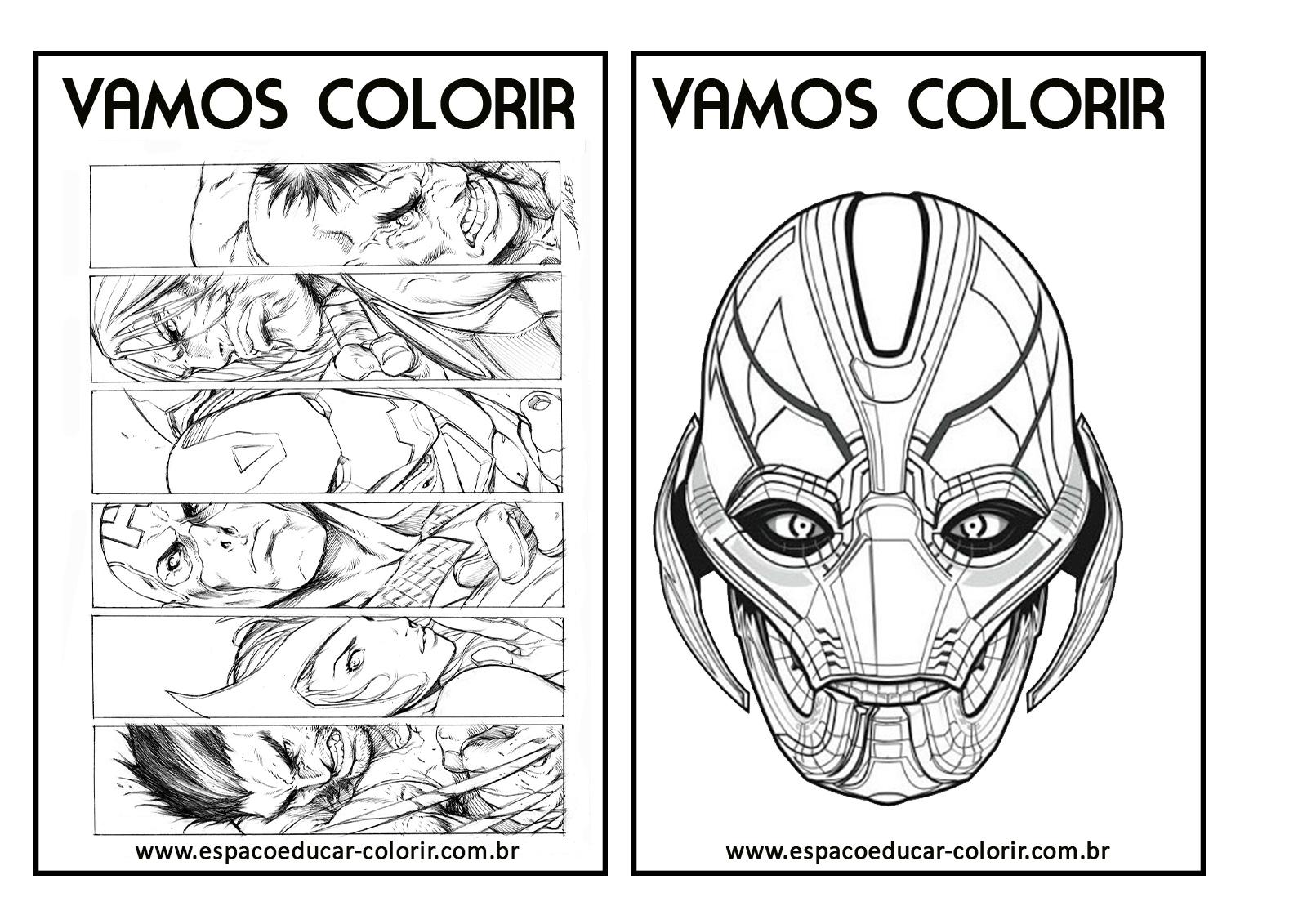 livro de colorir dos vingadores grátis para imprimir revista