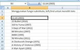 Menggunakan Fungsi Substitute, Left, Find untuk Memilih Teks di Ms. Excel 2007