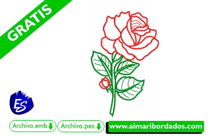 Bordado Flor Rosa descargar Gratis pes emb dst