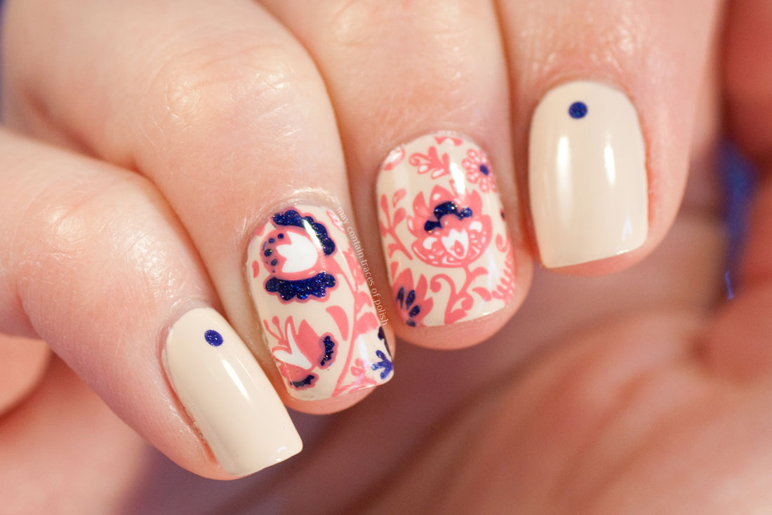 MoYou Flower Power 07 floral nail art with Fun Lacquer Moonlight Nocture
