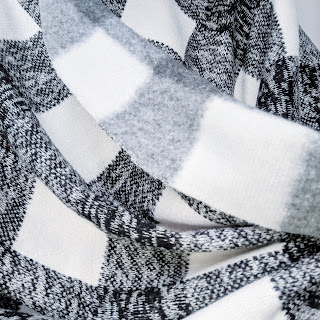 Melange Check Fleece Backed Wool Jersey in black and white