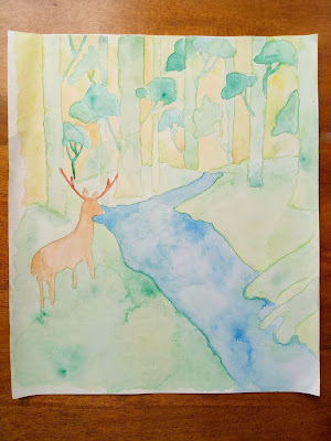 Bambi in the forest inspired watercolor painting
