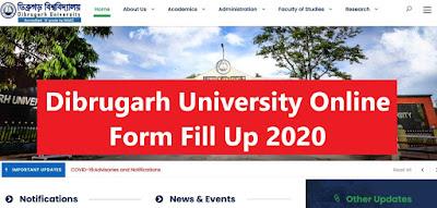 Dibrugarh University Form Fill up 2020