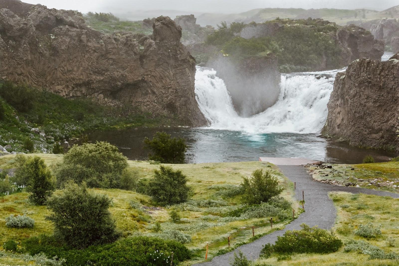Hjalparfoss Double Waterfall