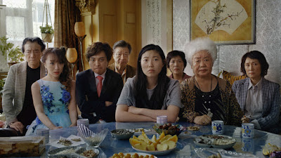 Movie still for the new film The Farewell (2019) where Awkwafina, Tzi Ma, Diana Lin, Han Chen, and Aoi Mizuhara stare with worry at Shuzhen Zhao
