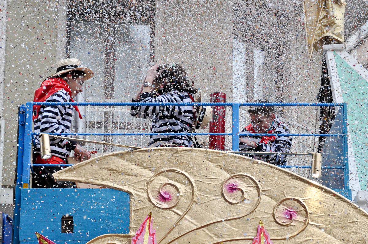 Confetti rain, Treviso Carnival 2016, Treviso, Veneto, Italy