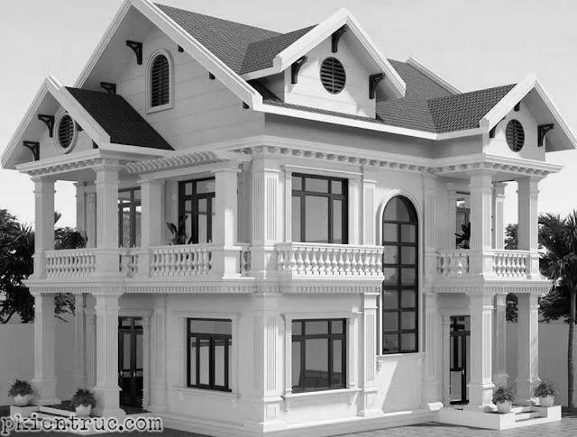Phối cảnh render tông trắng đen mẫu nhà mái thái hai tầng tuyệt đẹp bằng Revit