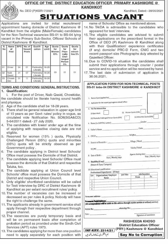 Driver Naib Qasid & Chowkidar Jobs 2021 Sindh