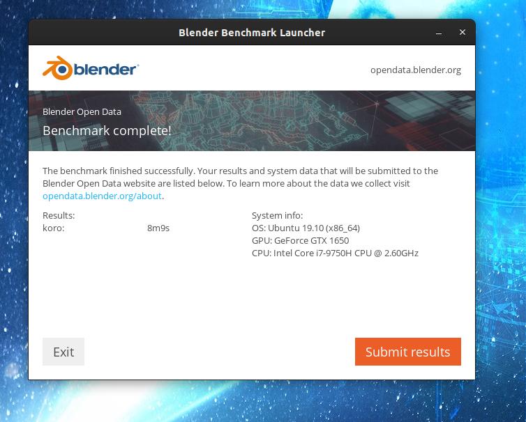 Blender Open data: Benchmark de Blender